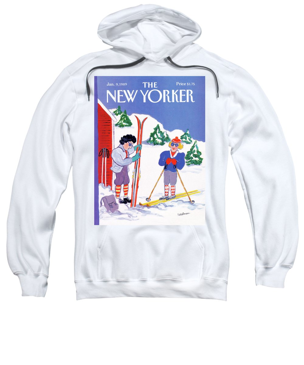 (a Couple Sweatshirt featuring the painting New Yorker January 9th, 1989 by Barbara Westman