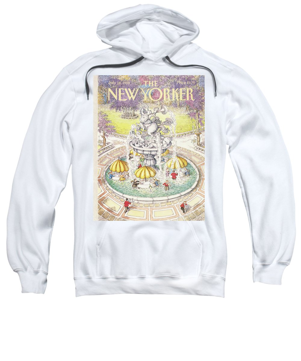 Dining Sweatshirt featuring the painting New Yorker July 18th, 1988 by John O'Brien