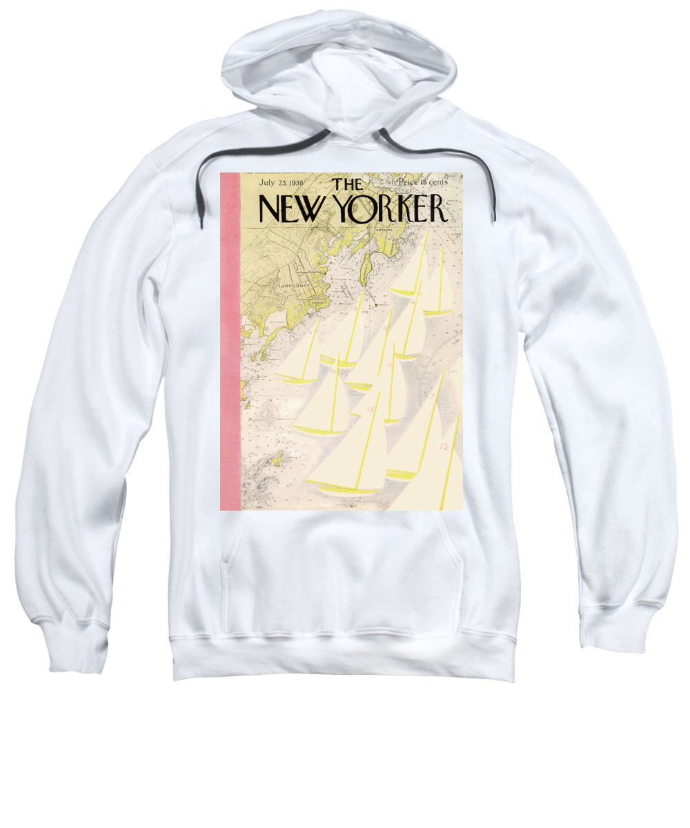 Illustration Sweatshirt featuring the painting New Yorker July 23rd, 1938 by Arthur Getz