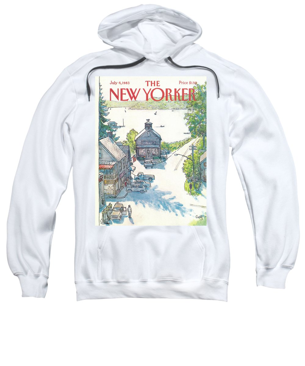 Rural Sweatshirt featuring the painting New Yorker July 4th, 1983 by Arthur Getz