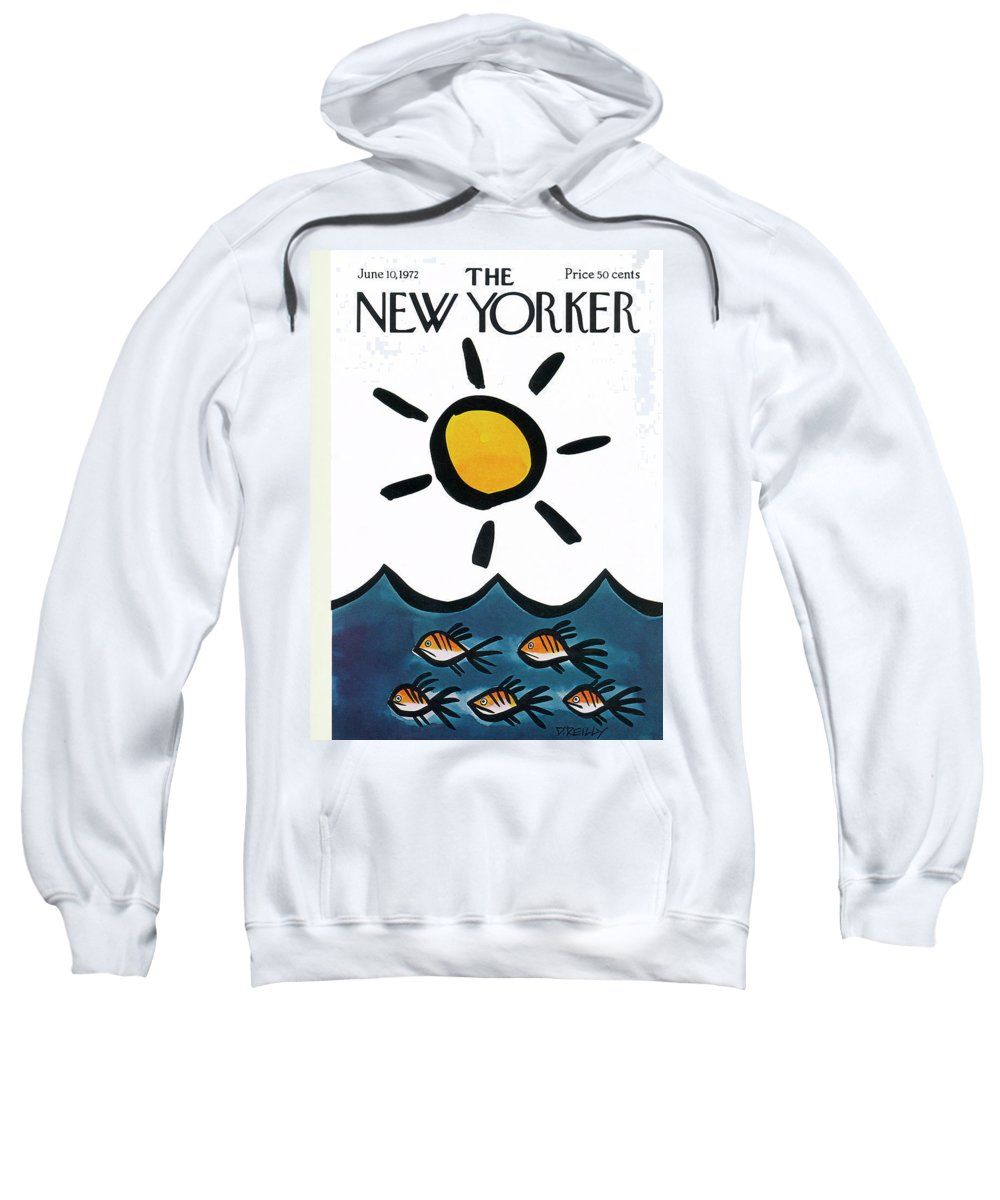 Donald Reilly Sweatshirt featuring the painting New Yorker June 10th, 1972 by Donald Reilly