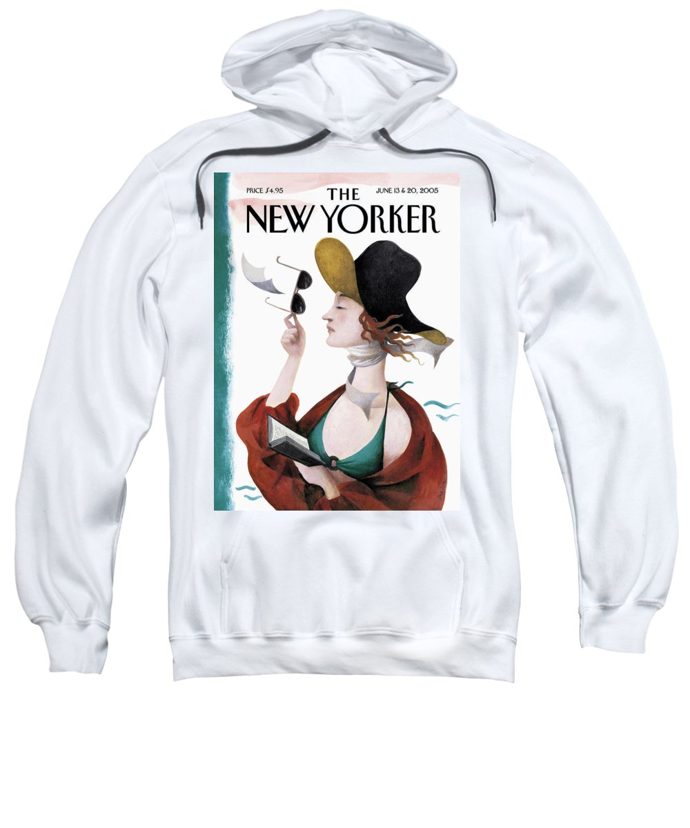 Eustace Tilley Sweatshirt featuring the painting Debut on the Beach by Ana Juan
