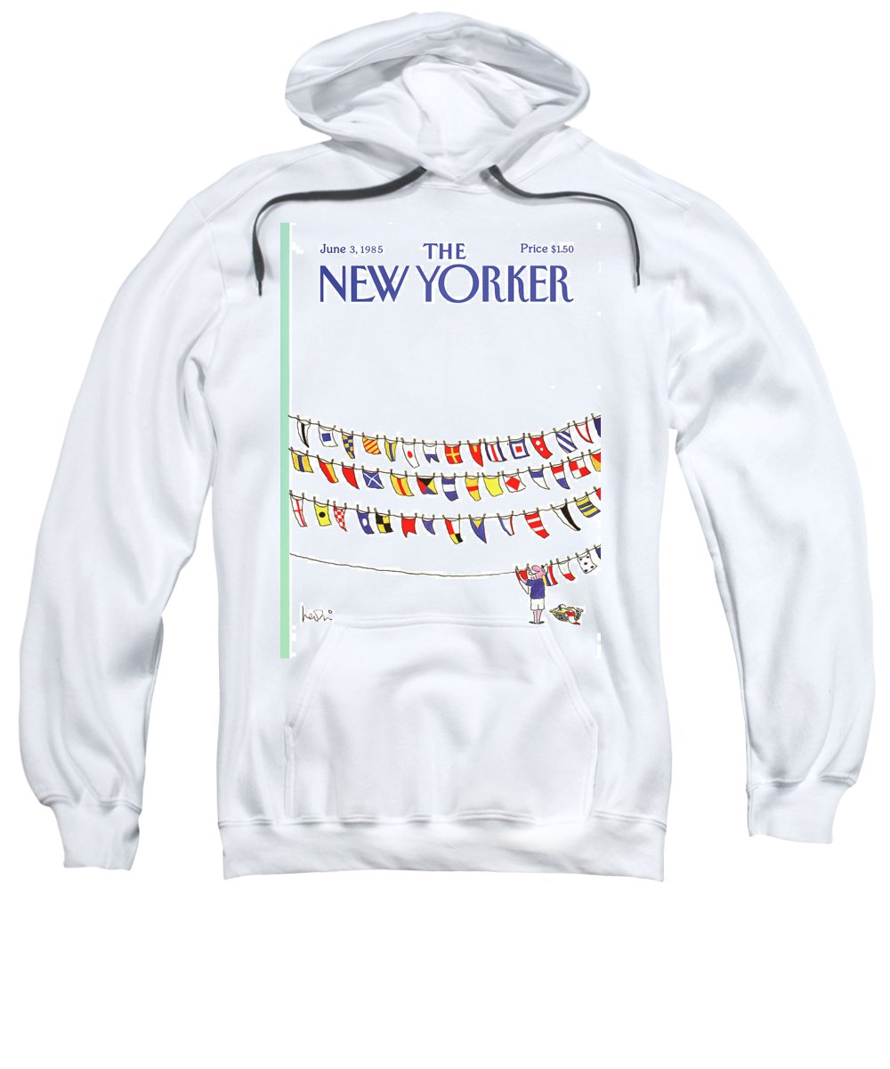 Leisure Sweatshirt featuring the painting New Yorker June 3rd, 1985 by Arnie Levin