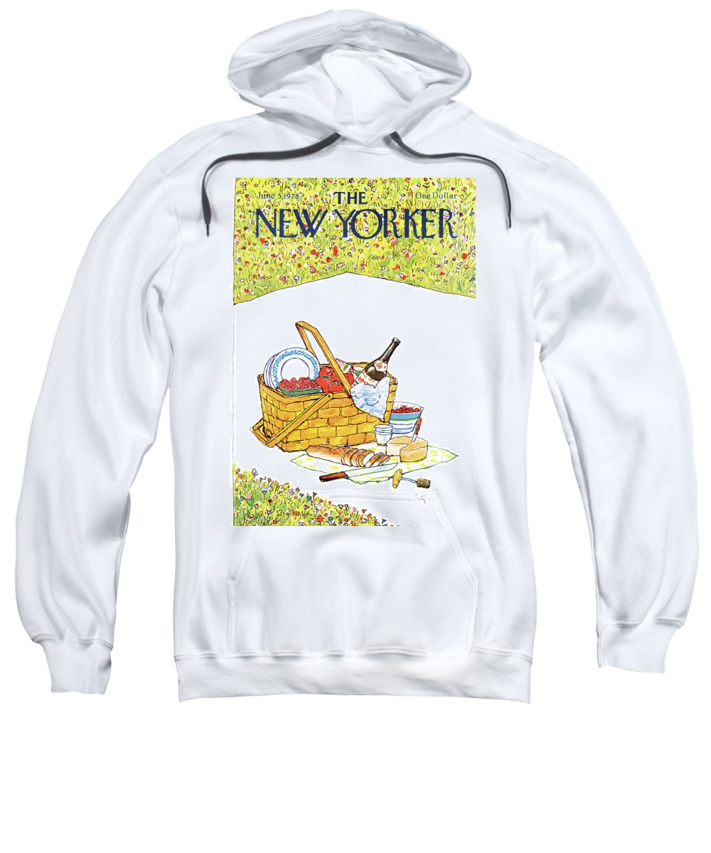 Food Sweatshirt featuring the painting New Yorker June 5th, 1978 by Arthur Getz