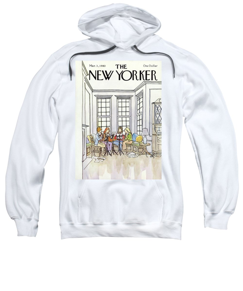 People Sweatshirt featuring the painting New Yorker March 3rd, 1980 by Arthur Getz