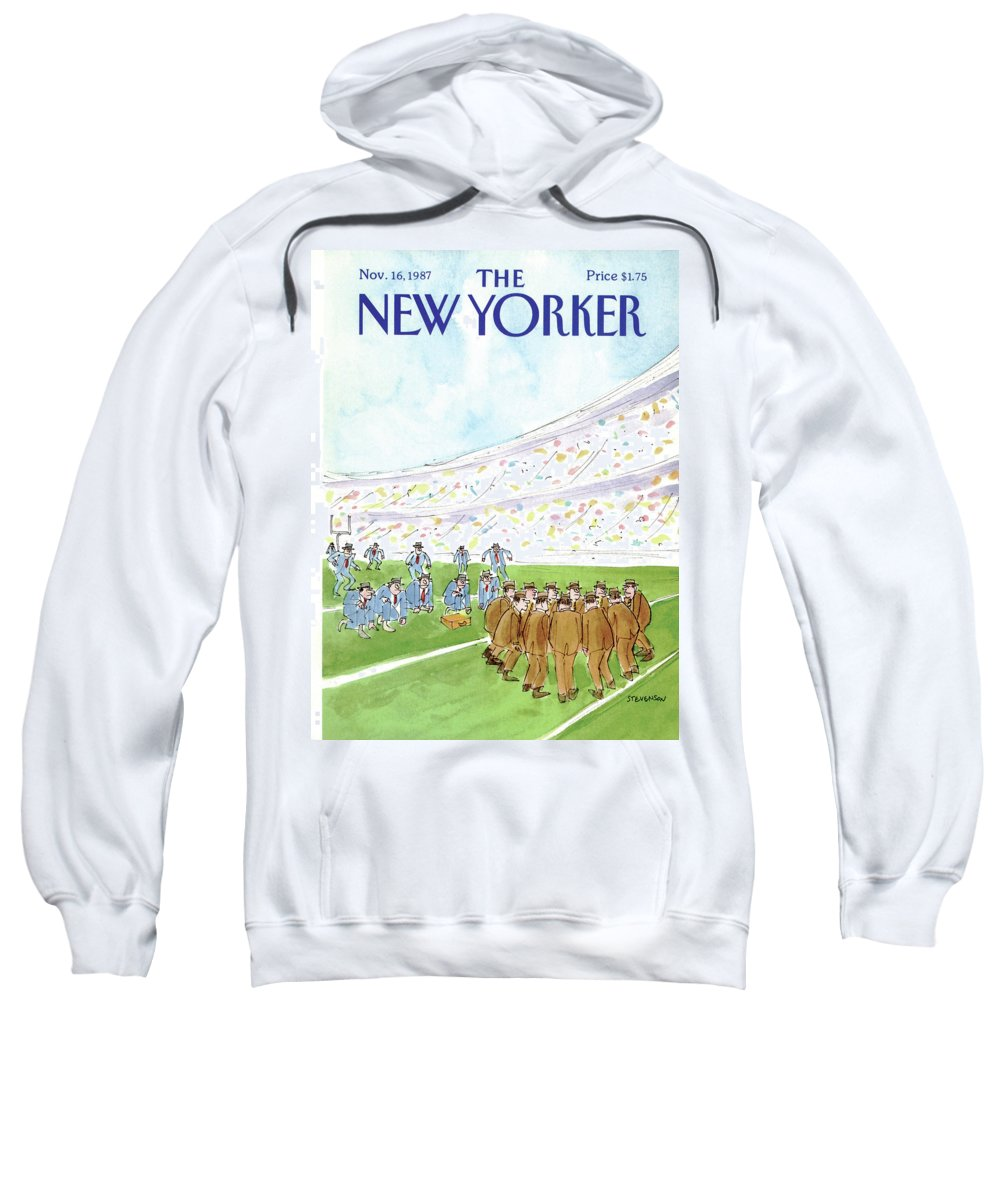 Business Sweatshirt featuring the painting New Yorker November 16th, 1987 by James Stevenson