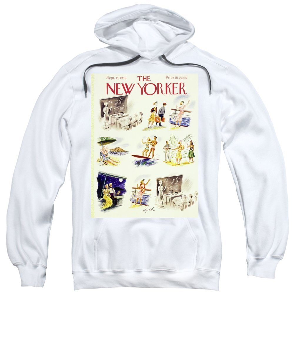Travel Sweatshirt featuring the painting New Yorker September 14 1940 by Constantin Alajalov