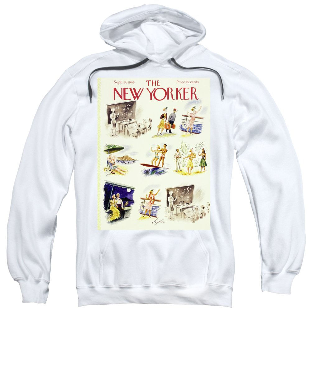 Illustration Sweatshirt featuring the painting New Yorker September 14 1940 by Constantin Alajalov