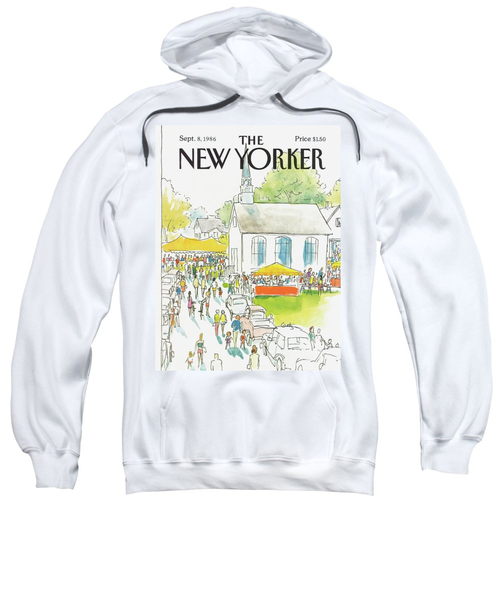 Autos Sweatshirt featuring the painting New Yorker September 8th, 1986 by Arthur Getz