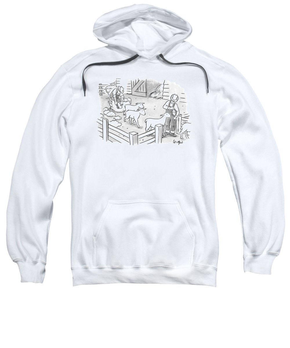 Captionless Shaving Sweatshirt featuring the drawing Newly-shorn Sheep Walk Out Of A Barn by Robert Leighton