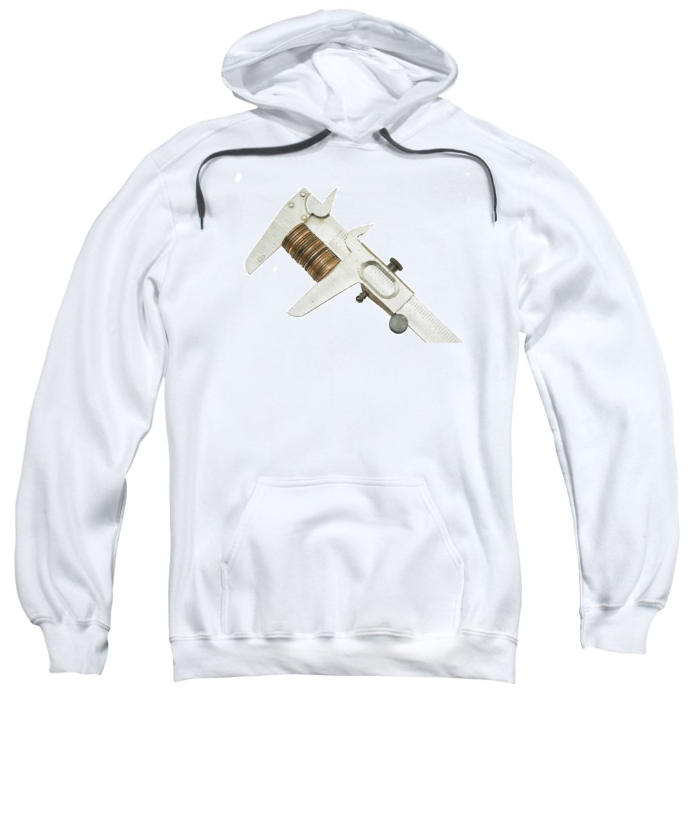 Caliper Sweatshirt featuring the photograph ng Pennies For Savings On White Background by Keith Webber Jr