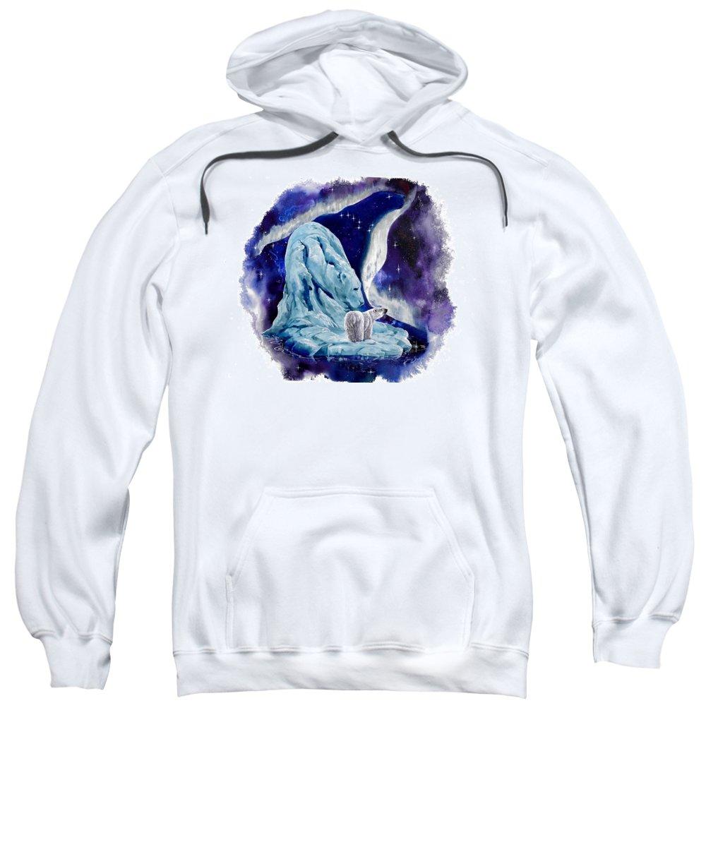 Polar Bear Sweatshirt featuring the painting Night Bear by Sherry Shipley