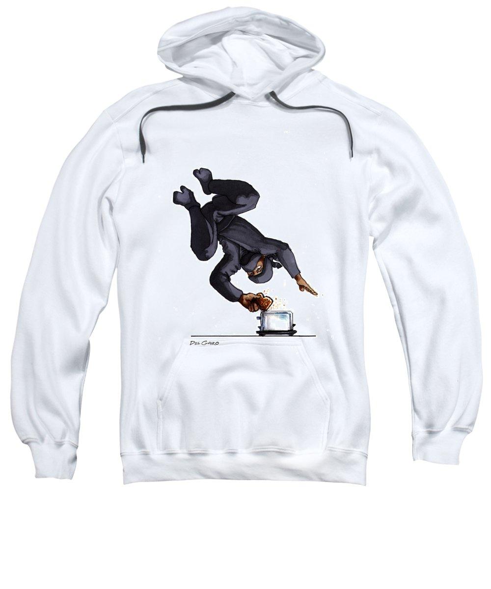 Ninja Sweatshirt featuring the drawing Ninja Making Toast by Del Gaizo