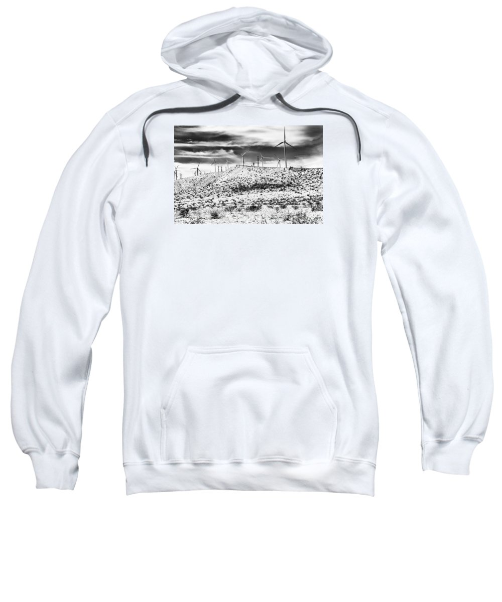 Black And White Sweatshirt featuring the photograph No Place Like Home 1 Bw Palm Springs by William Dey