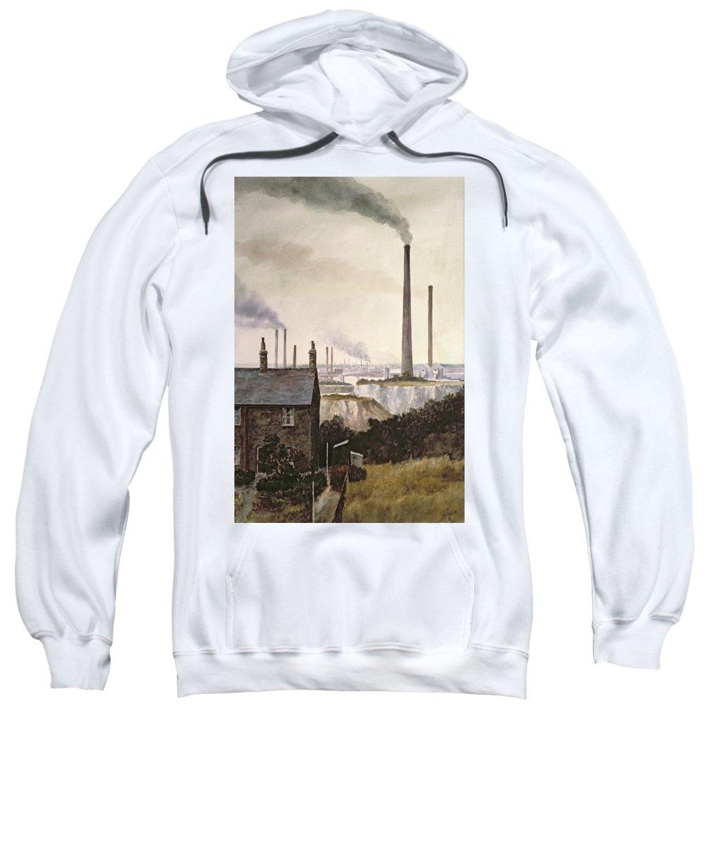 Factory; Pollution Sweatshirt featuring the painting North Kent Landscape Nr Northfleet Gravesend by Vic Trevett