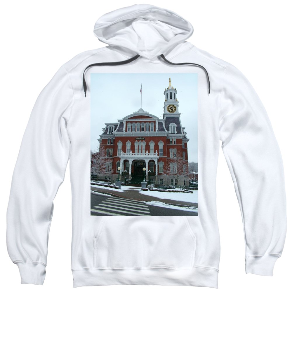 Norwich Sweatshirt featuring the photograph Norwich City Hall In Winter by Geoffrey McLean