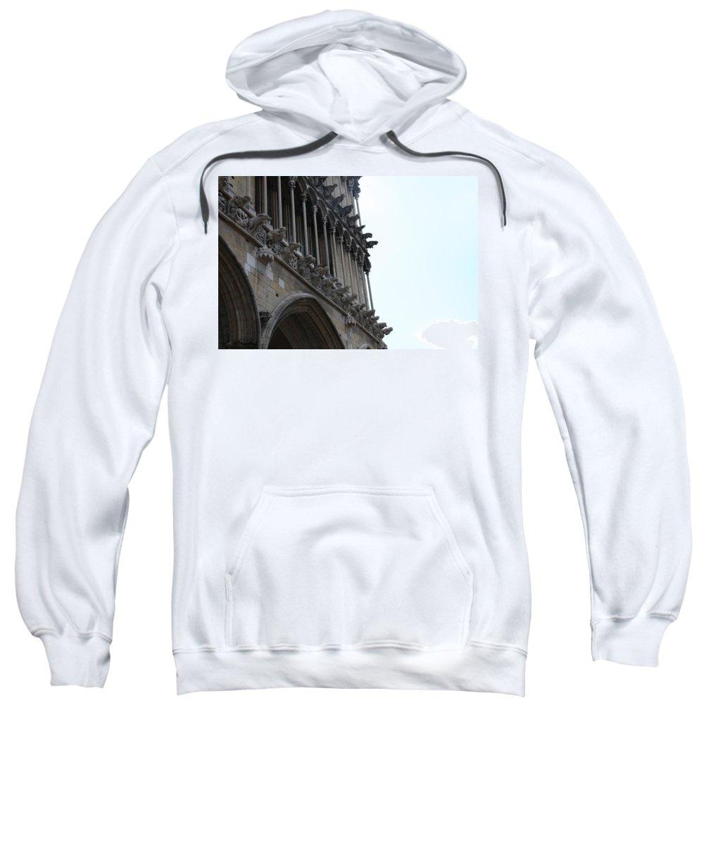 Facade Sweatshirt featuring the photograph Notre Dame Gargoyle Row - Dijon by Christiane Schulze Art And Photography