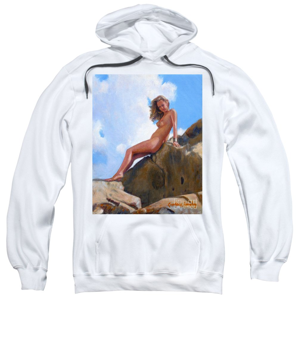 Nude Sweatshirt featuring the painting Nude On The Rocks by Candace Lovely