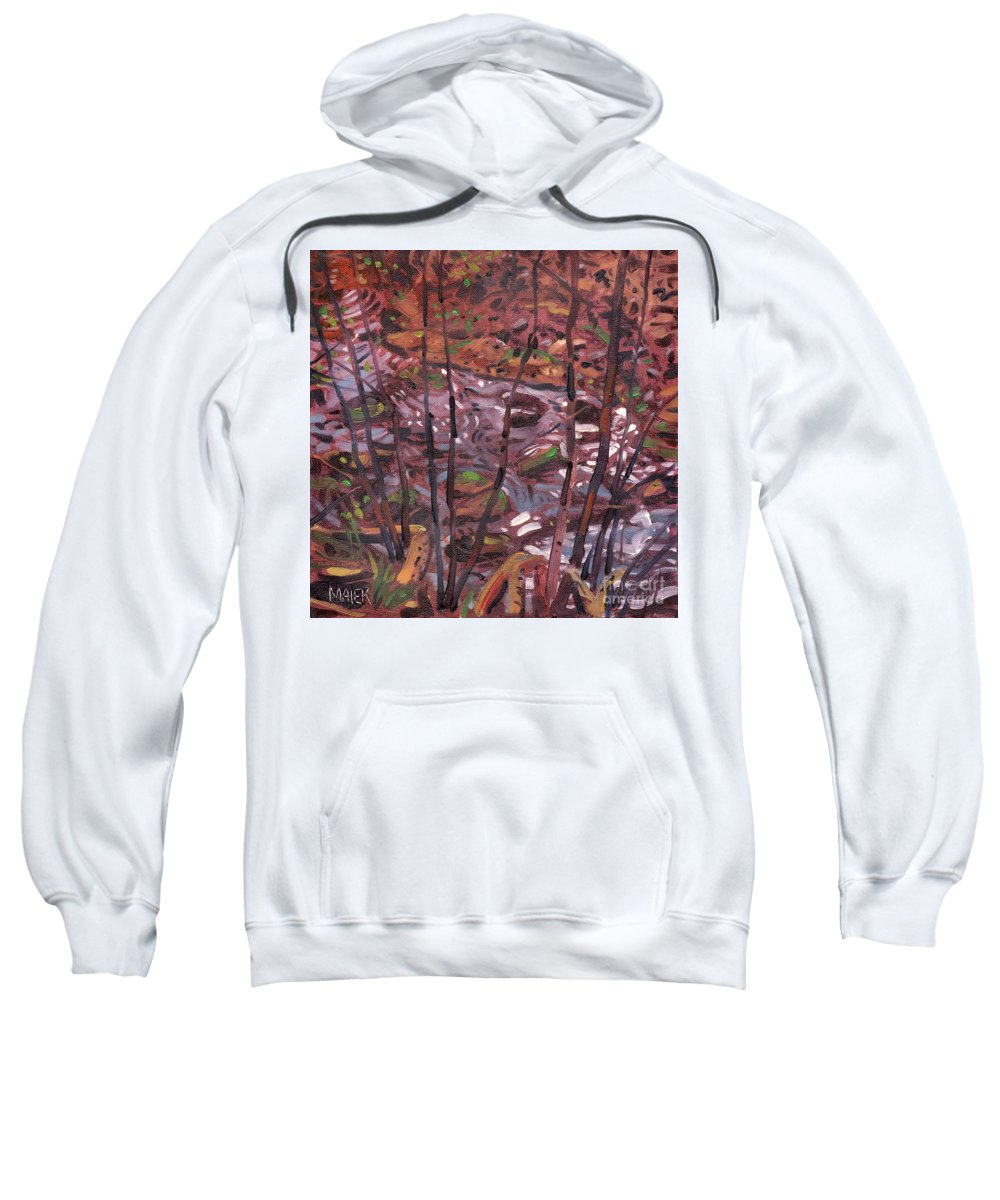 Creek Sweatshirt featuring the painting Suzie's Creek by Donald Maier