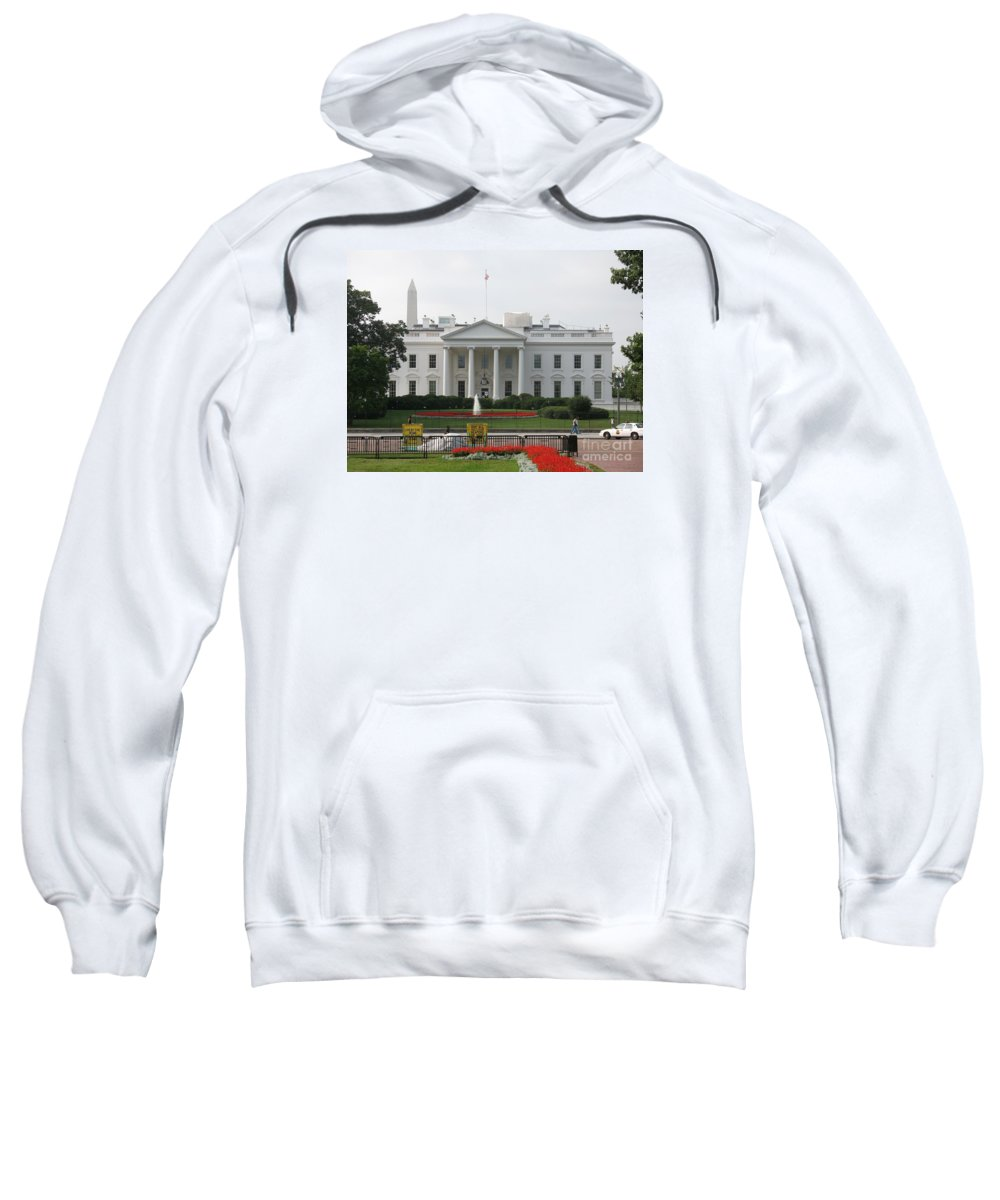 White House Sweatshirt featuring the photograph Obelisk And White House by Christiane Schulze Art And Photography