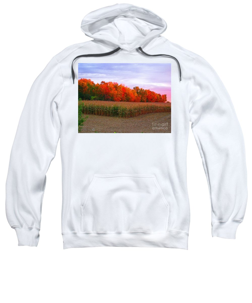 October Sweatshirt featuring the digital art October Sunset On The Autumn Woods by J McCombie