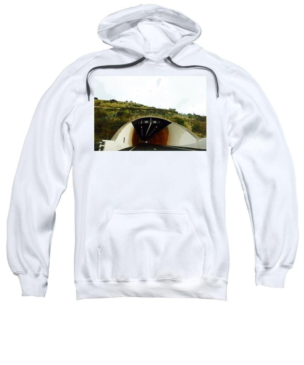 England Sweatshirt featuring the digital art Oil Painting - Approaching A Tunnel by Ashish Agarwal