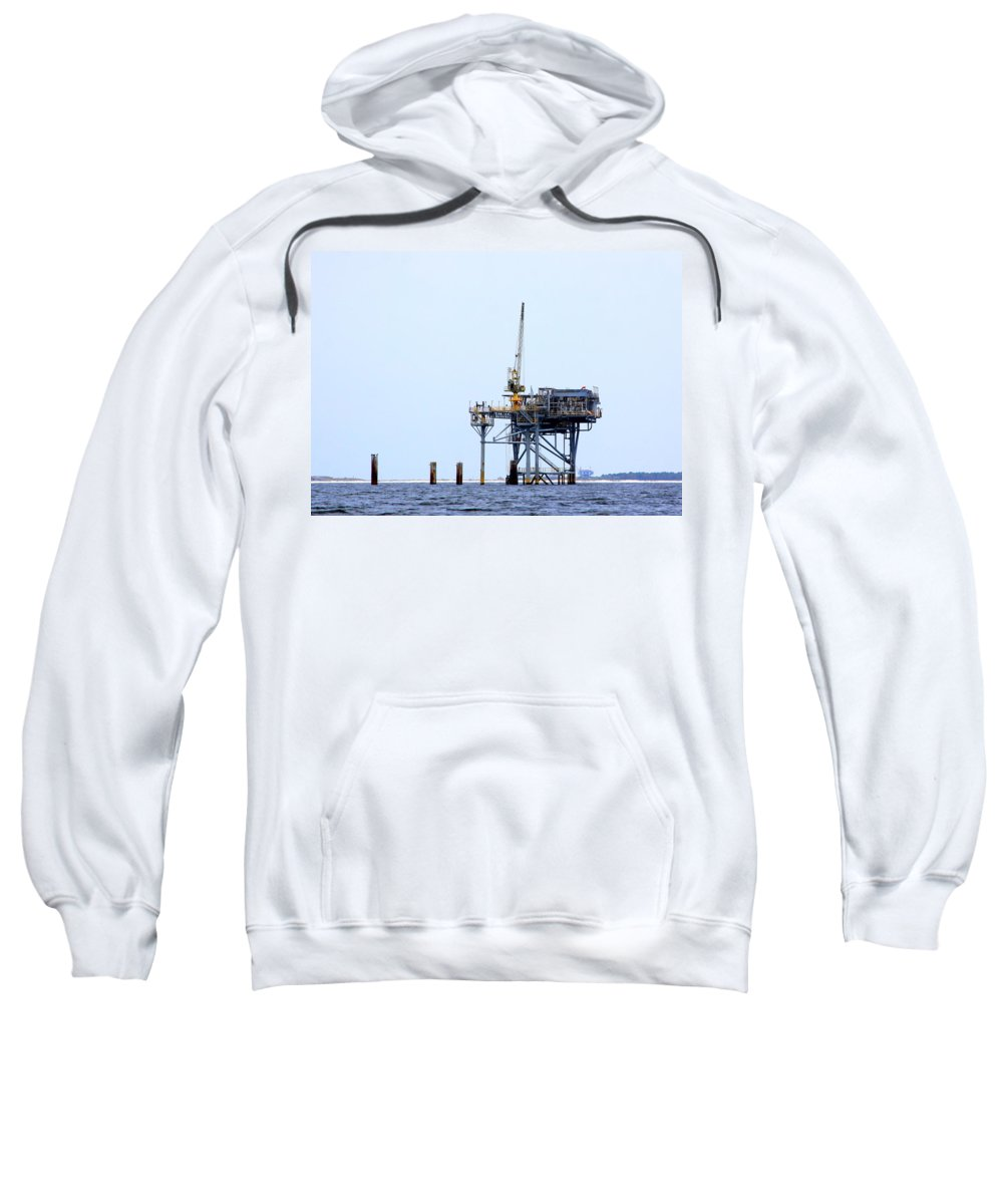 Oil Sweatshirt featuring the photograph Oil Rig In The Gulf by Travis Truelove