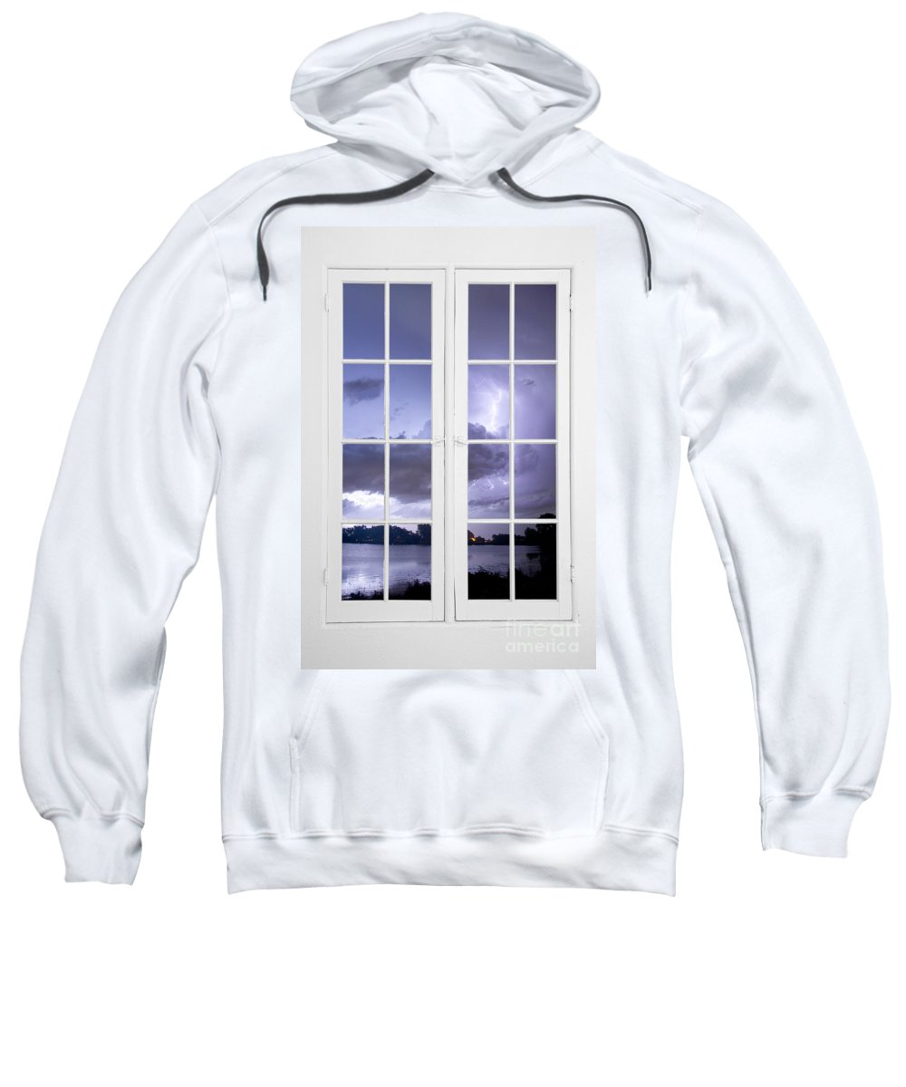 Stormy Sweatshirt featuring the photograph Old 16 Pane White Window Stormy Lightning Lake View by James BO Insogna