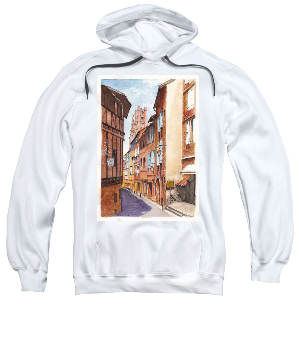 Albi Sweatshirt featuring the painting Old Albi The Pink City Of South West France by Dai Wynn