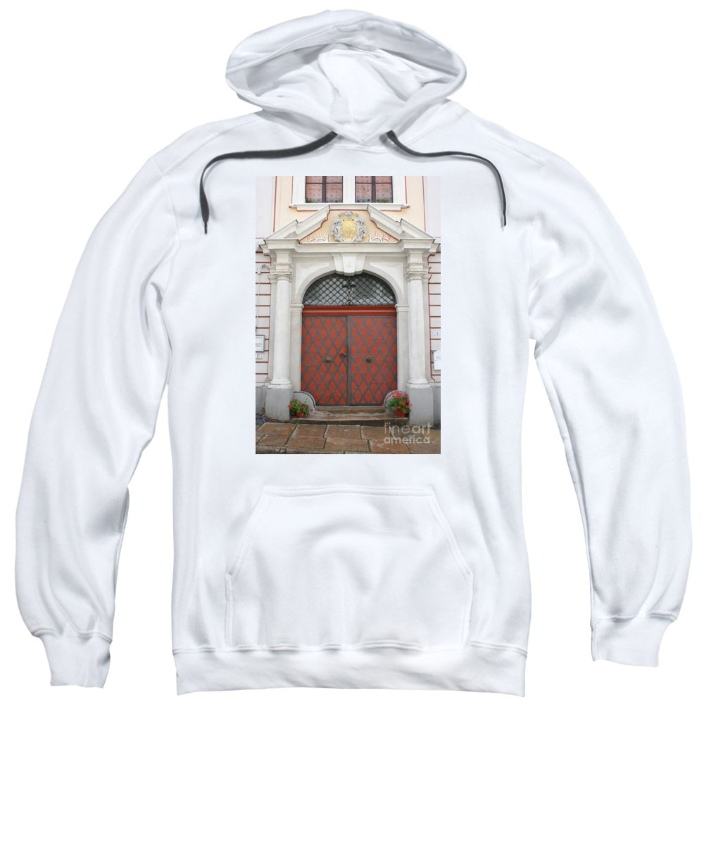 Door Sweatshirt featuring the photograph Old Carved Red Door by Christiane Schulze Art And Photography