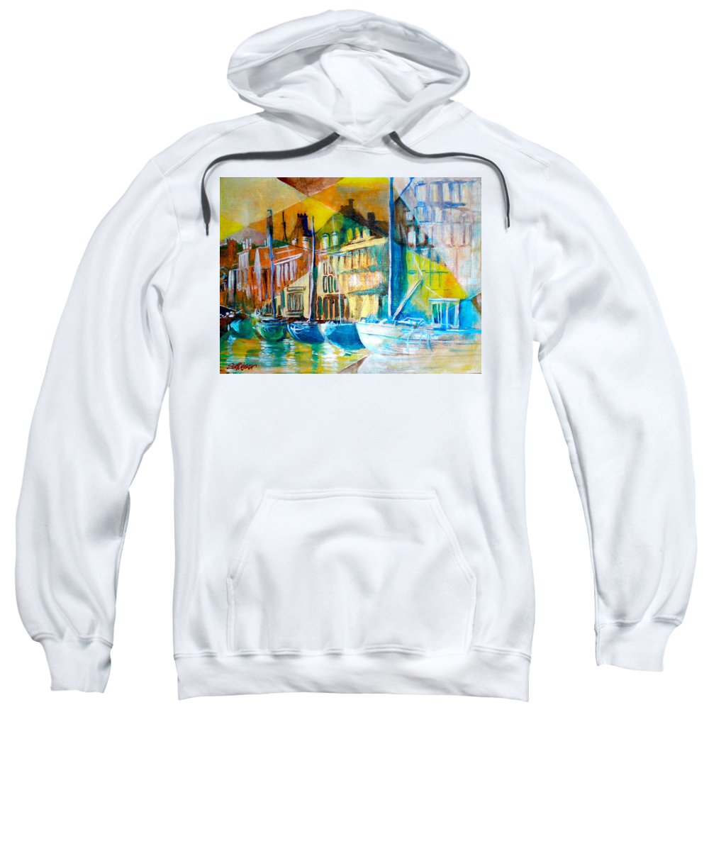 Old World Street Sweatshirt featuring the painting Old Copenhagen Thru Stained Glass by Seth Weaver