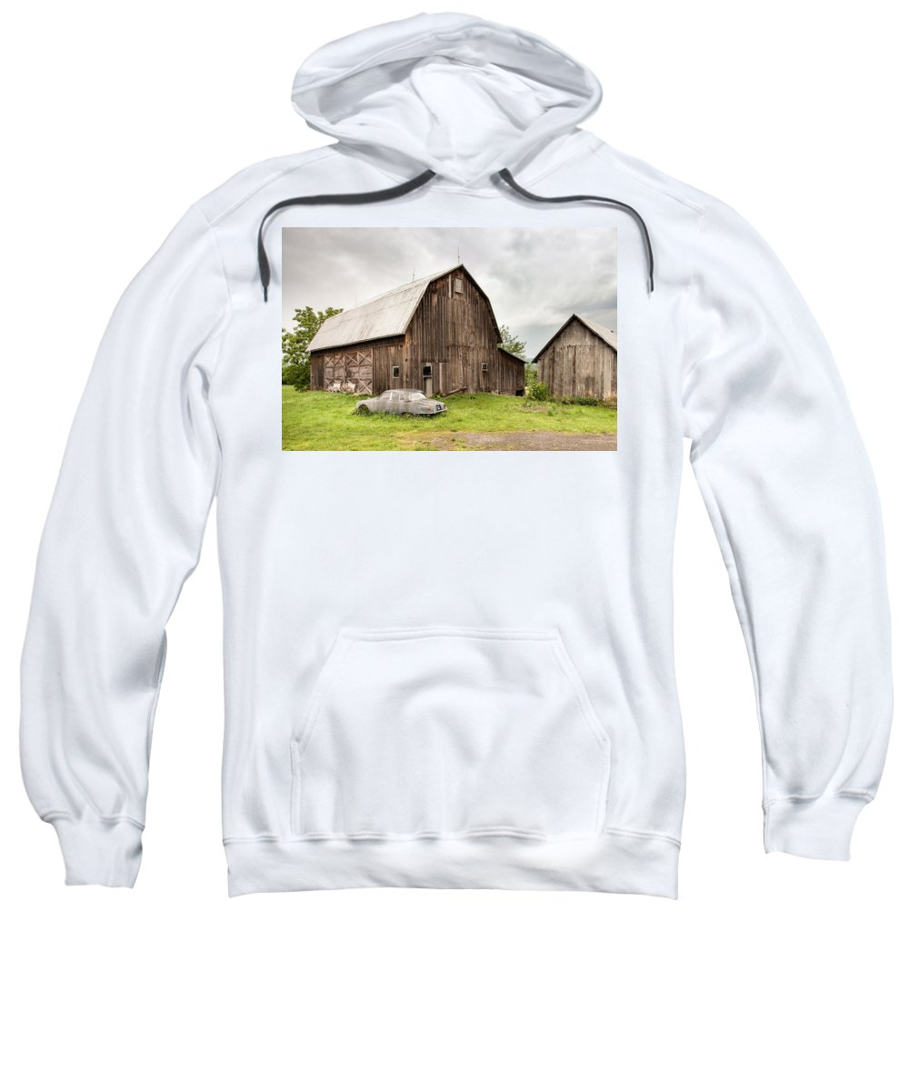 Old Barns Sweatshirt featuring the photograph Old Jaguar Homestead - Vintage Americana by Gary Heller