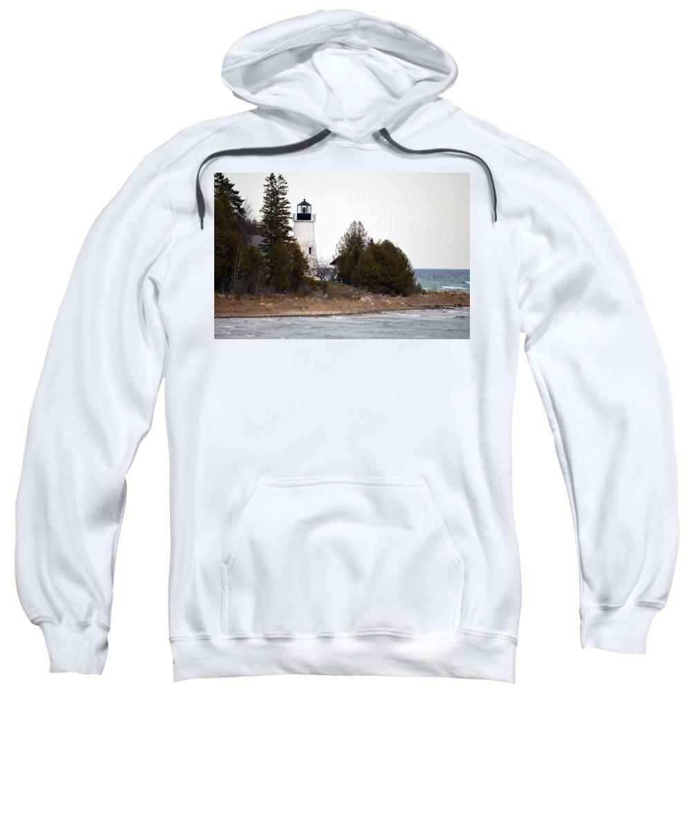 Presque Isle Sweatshirt featuring the photograph Old Presque Isle Lighthouse by Linda Kerkau