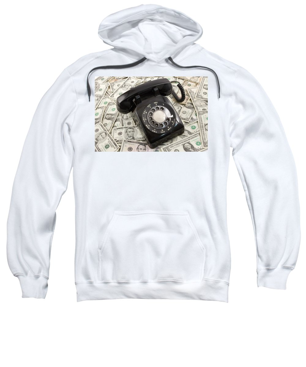Currency Sweatshirt featuring the photograph Old Rotary Phone On Money Background by Keith Webber Jr
