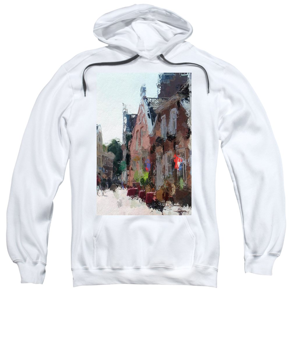 Old Town Street House Cafe Leer Altstadt Brunnenstrasse Summer Sun Colorful Painting Expressionism Urban Landscape Sweatshirt featuring the painting Old Street Cafe by Steve K