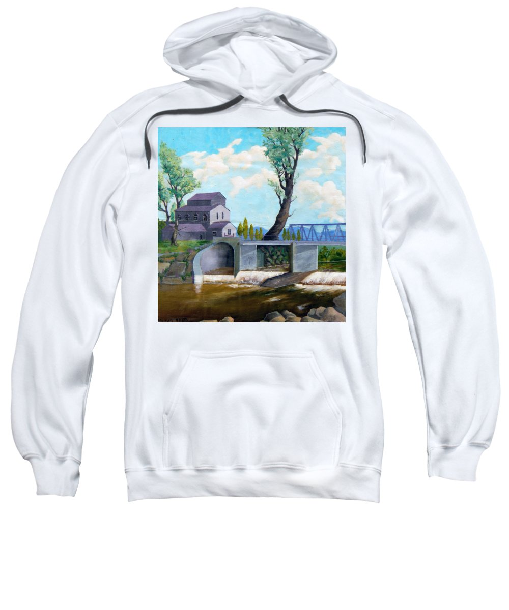 Old Sweatshirt featuring the painting Old Water Mill by Sergey Bezhinets