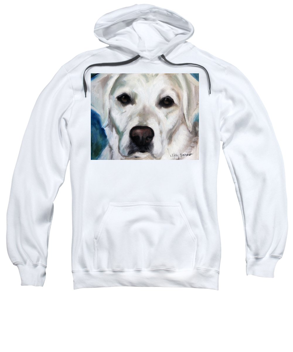 Labrador Sweatshirt featuring the painting Old Yella by Mary Sparrow