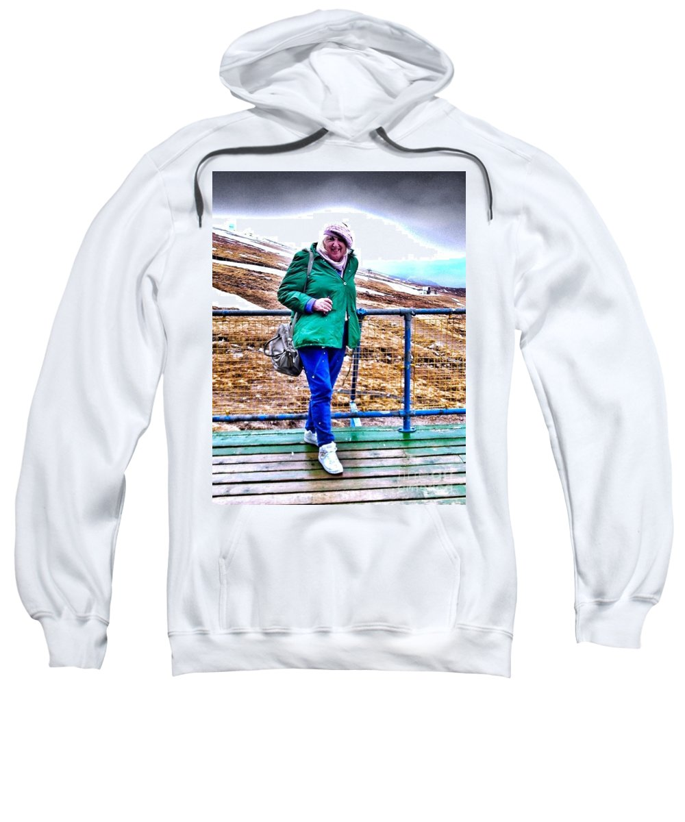 Ben Nevis Sweatshirt featuring the photograph On The Summit Of Ben Nevis by Joan-Violet Stretch