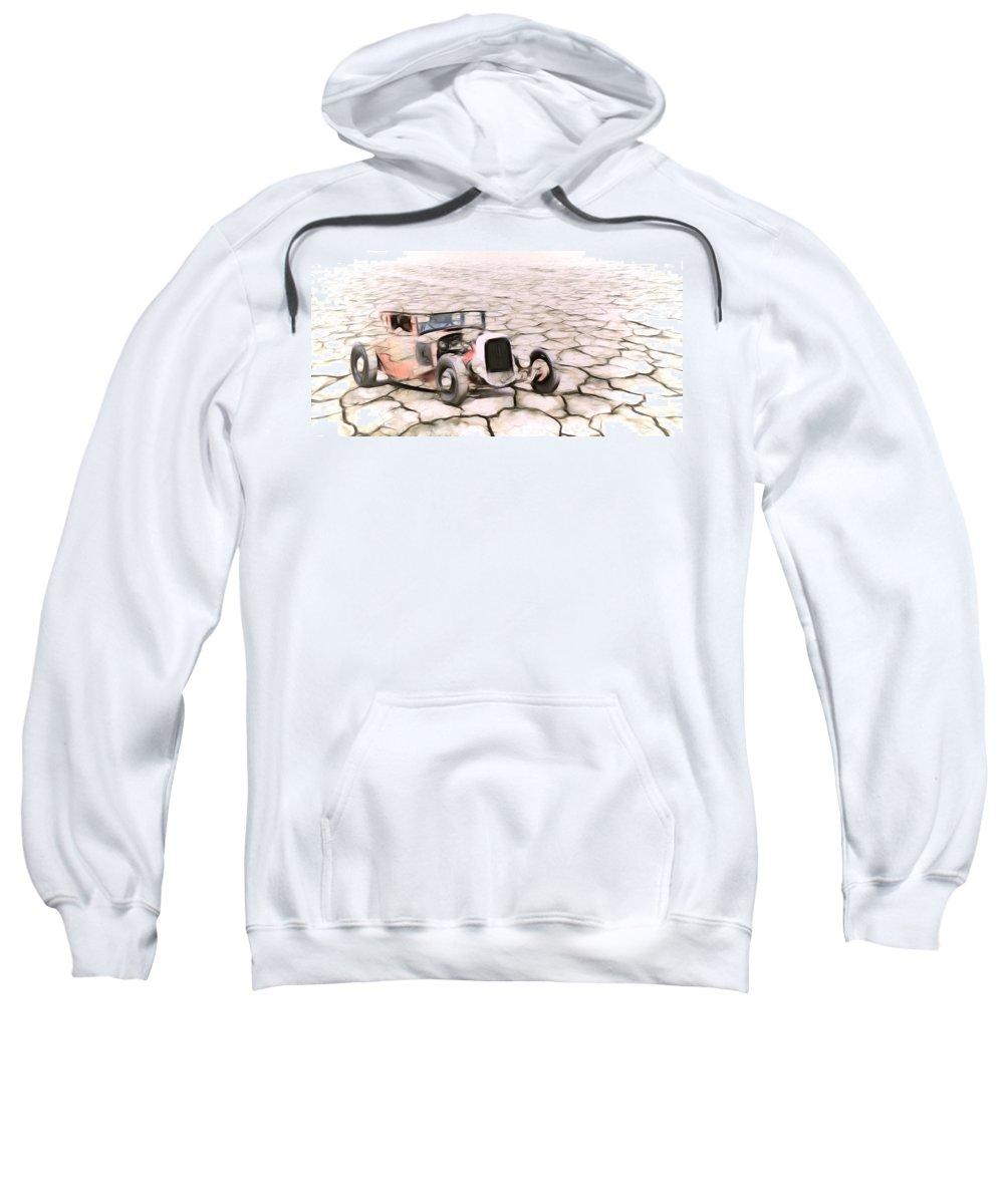 Bonneville Salt Flats Sweatshirt featuring the photograph On The Flats by Steve McKinzie