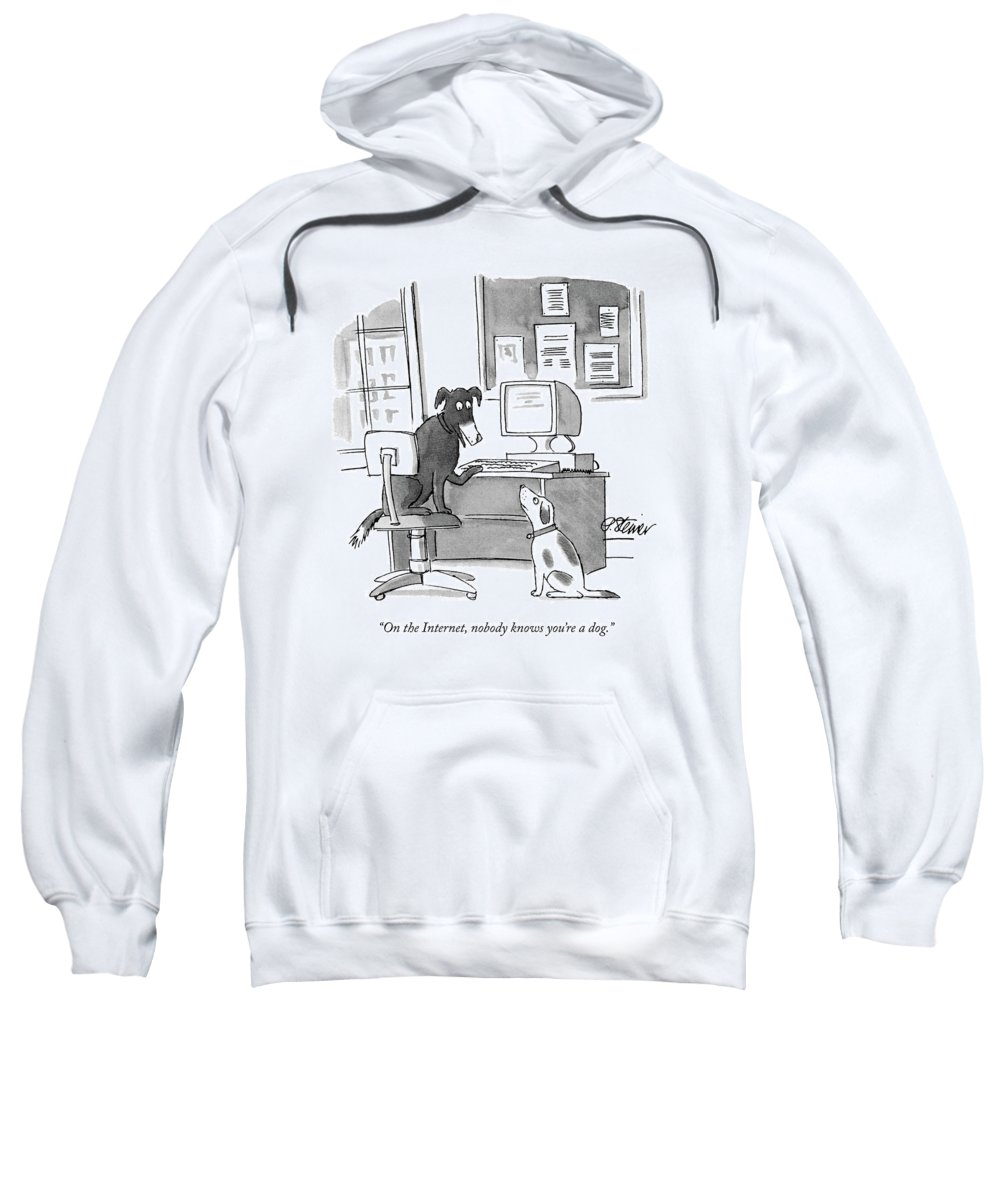 On The Internet Sweatshirt featuring the drawing On The Internet by Peter Steiner
