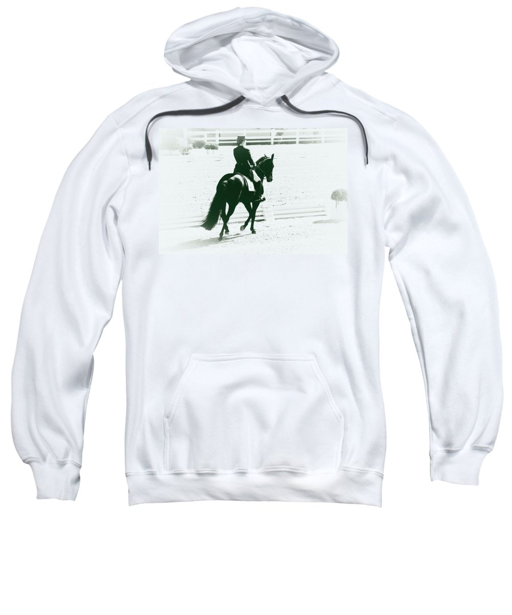Dressage Sweatshirt featuring the photograph On The Long Side by Alice Gipson