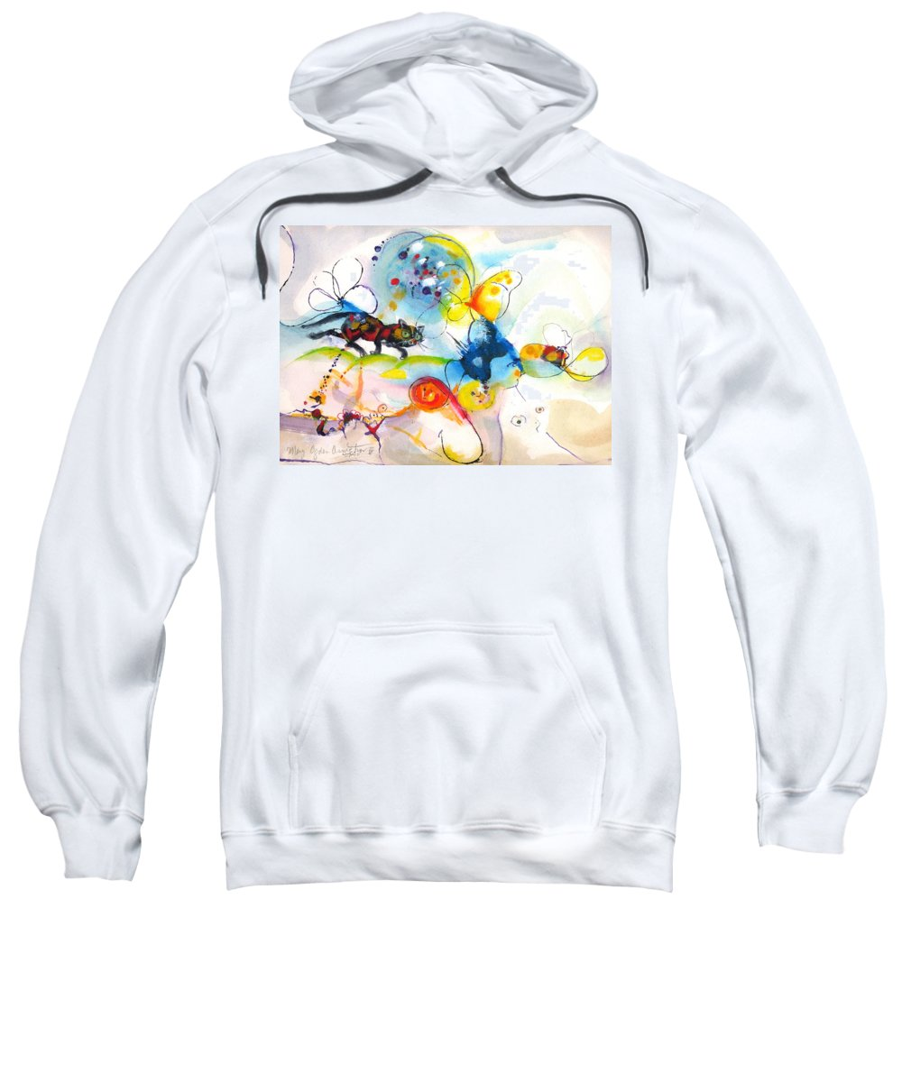 Mixed Media Sweatshirt featuring the painting On The Prowl by Mary Armstrong
