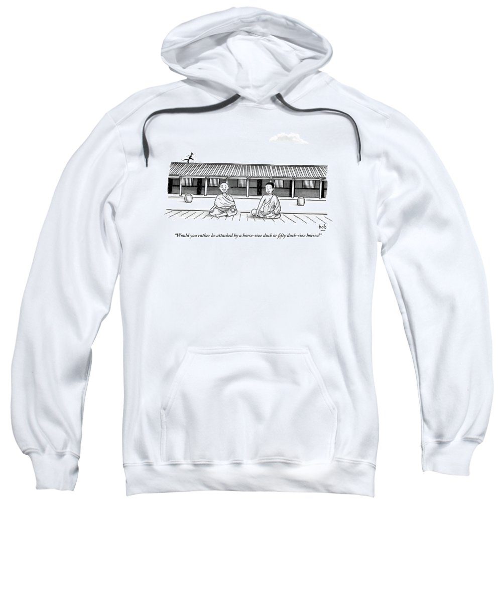 Meditation Sweatshirt featuring the drawing One Buddhist Monk Asks Another While Meditating by Bob Eckstein