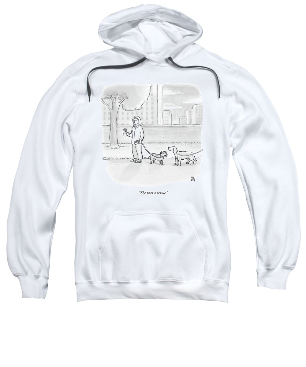 Dogs Sweatshirt featuring the drawing One Dog Talks To Another by Paul Noth
