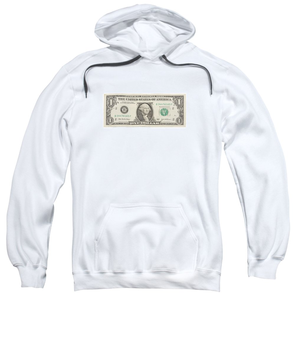 One Dollar Bill Sweatshirt featuring the photograph One Dollar Bill On White Background by Keith Webber Jr