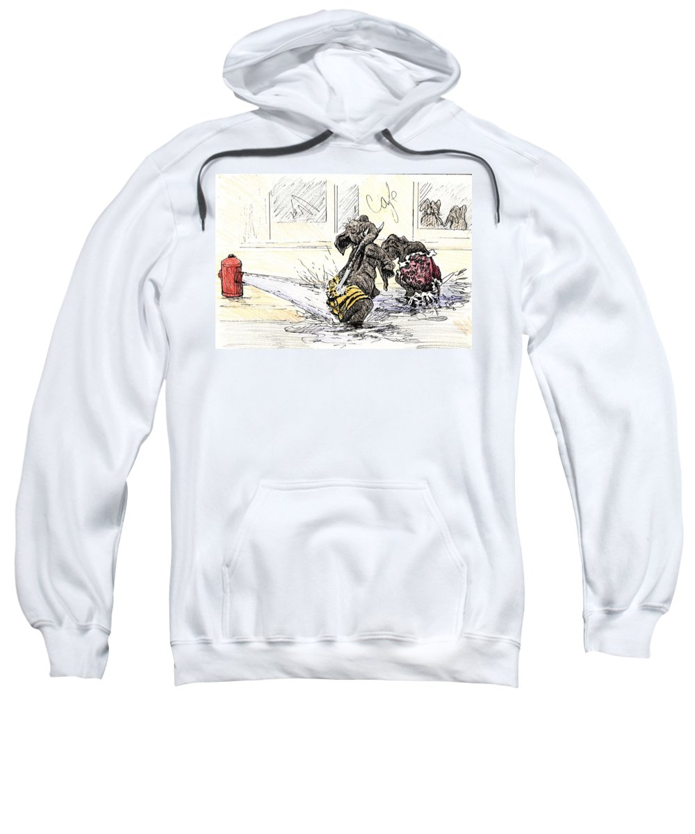 Elephant Sweatshirt featuring the painting One Hot Summer Day by Donna Tucker