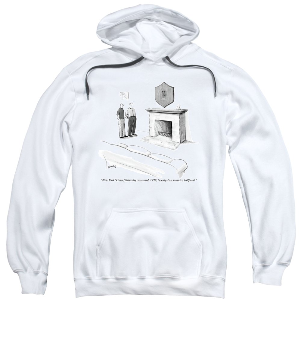 New York Times Sweatshirt featuring the drawing One Man Shows Off A Framed Crossword by Julia Suits