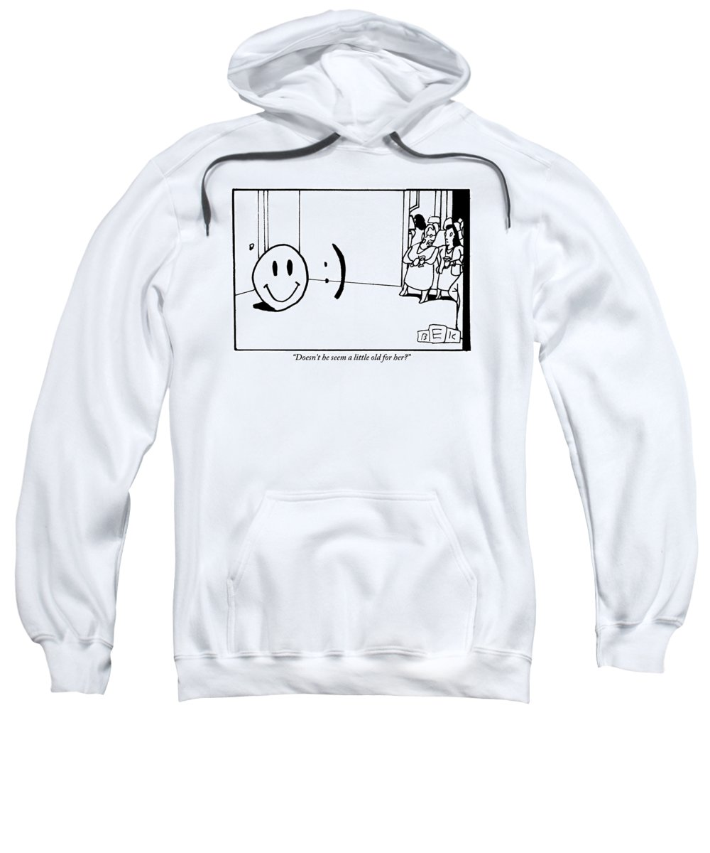 Emoticons Sweatshirt featuring the drawing One Traditional Smiley Face Standing Next To An by Bruce Eric Kaplan