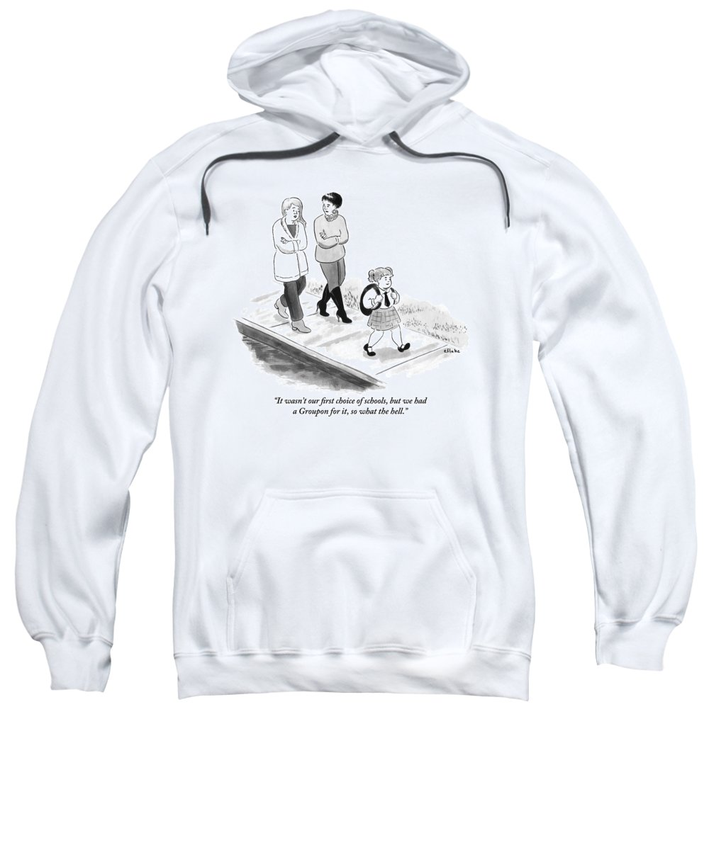 Coupon Sweatshirt featuring the drawing One Woman To Another As They Walk Down The Street by Emily Flake