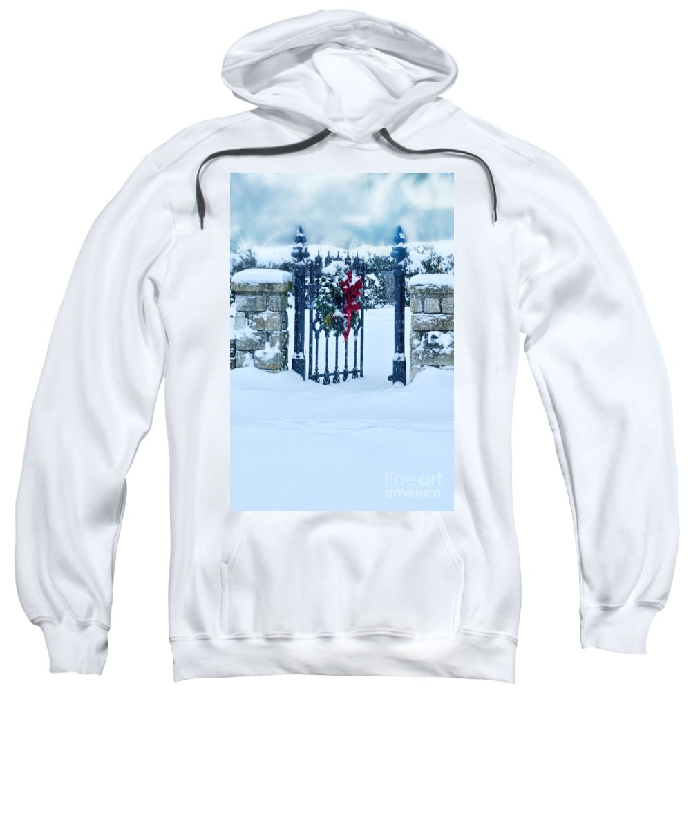 Welcome Sweatshirt featuring the photograph Open Gate In Snow With Wreath by Jill Battaglia